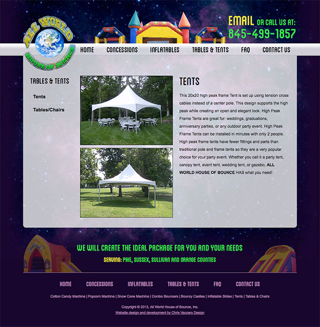 All World House of Bounce tents and tables page