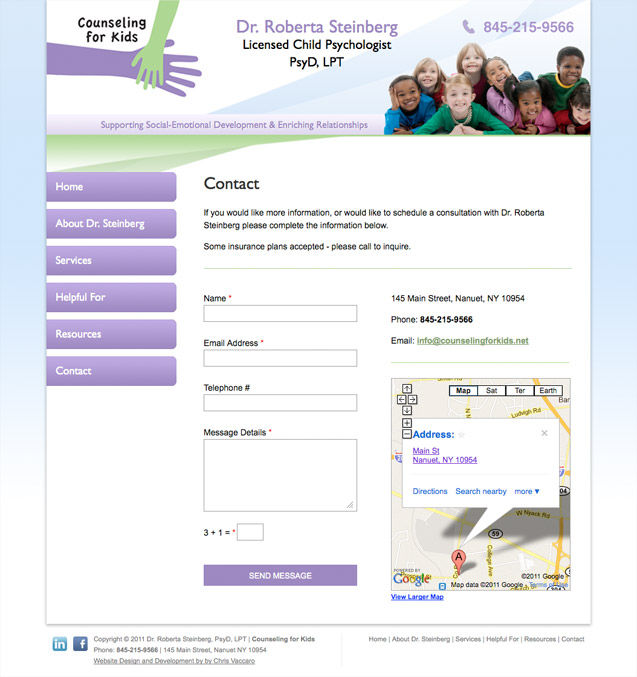 counseling for kids contact page