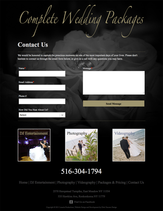 Complete Wedding Packages Contact page