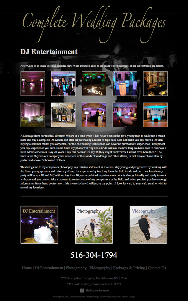 Complete Wedding Packages DJ Entertainment page