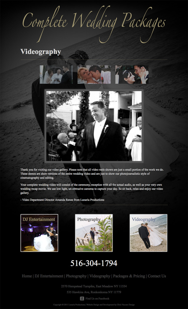 Complete Wedding Packages Videography page
