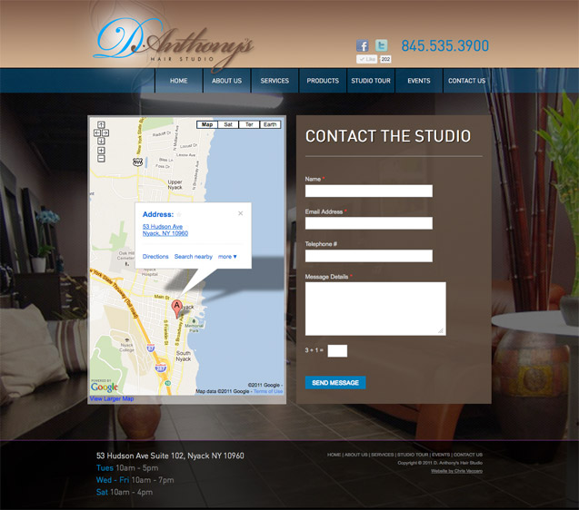 D.Anthony's Hair Studio - Contact Page