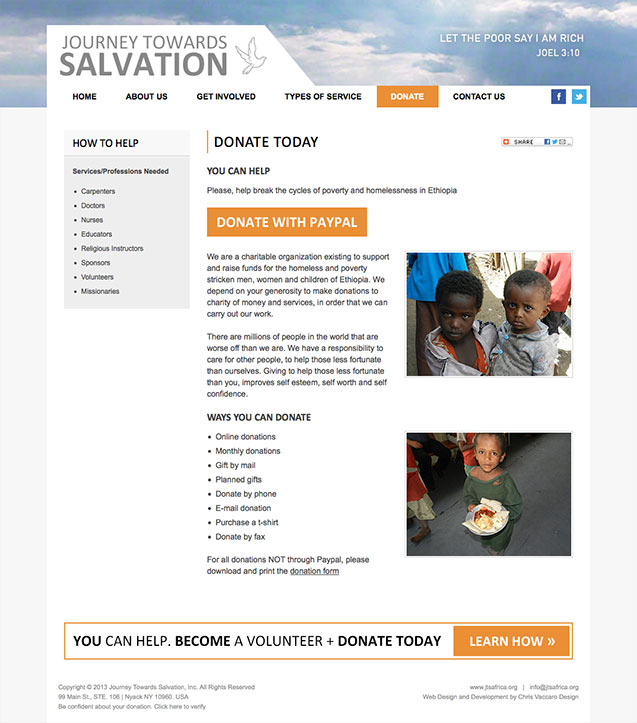 journey towards salvation donations page