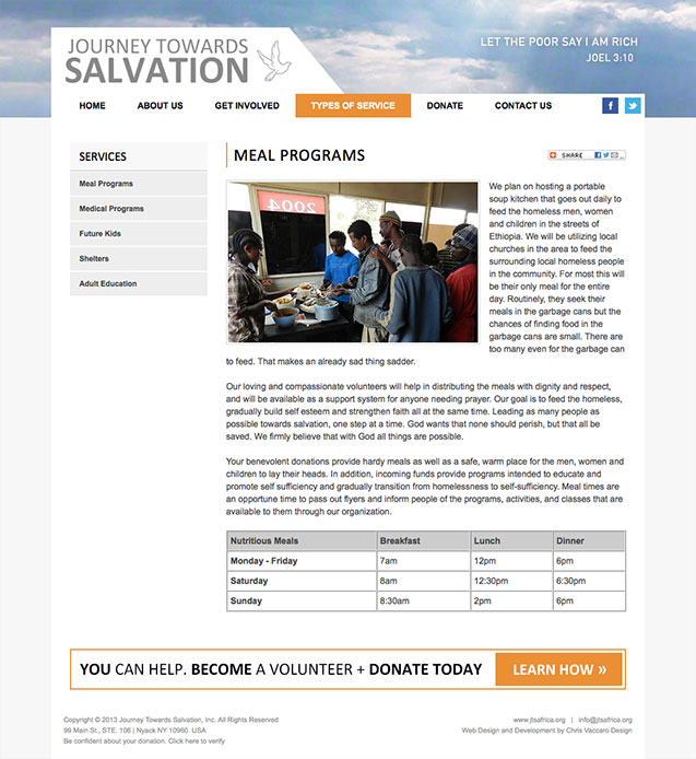 journey towards salvation meal program page