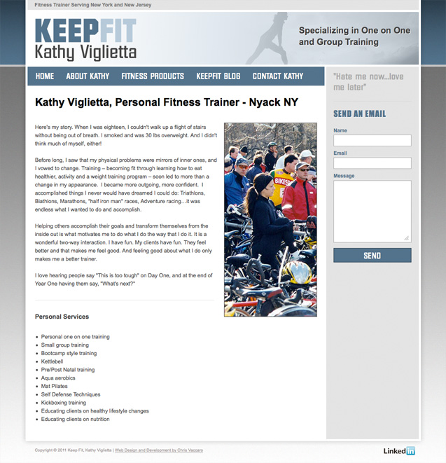 Keepfit Training - About Kathy Viglietta page