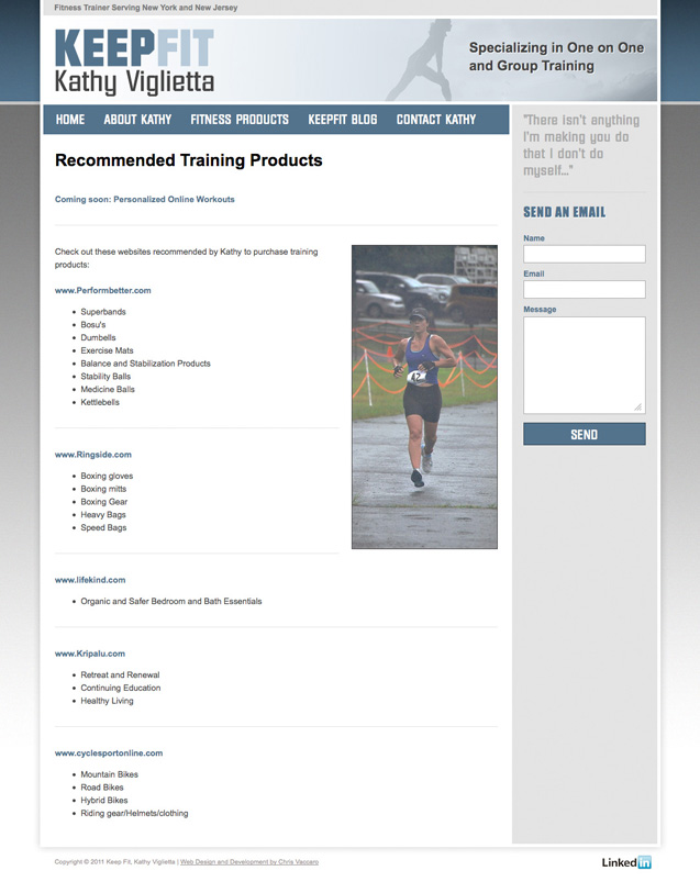 Keepfit Training products page