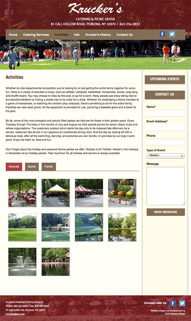 Kruckers Catering & Picnic Grove activities page