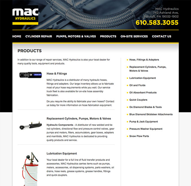 MAC Hydraulics products page