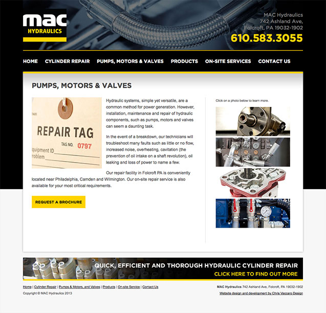 MAC Hydraulics pumps and valves page
