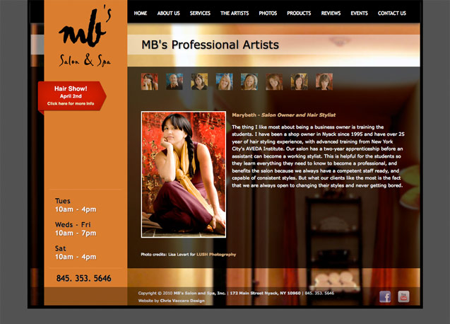 mb salon and spa artists page