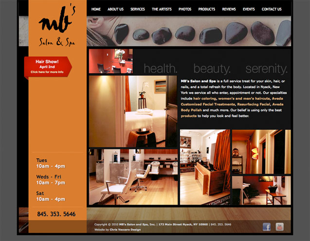 mb salon and spa homepage