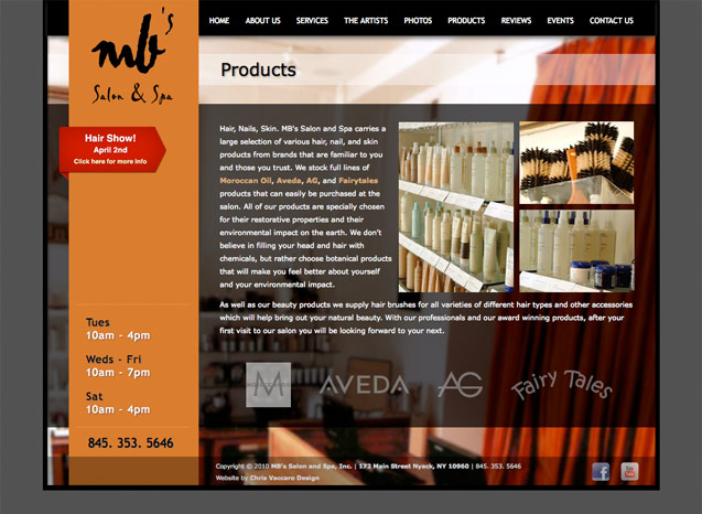 mb salon and spa products page
